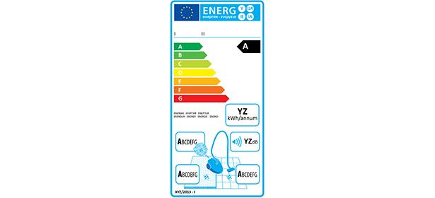Etichetta classi energetiche aspirapolvere