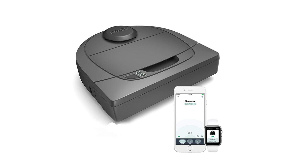 Neato Robotics D301 Connected – Compatibile con Alexa – Robot aspirapolvere con stazione di ricarica, Wi-Fi & App