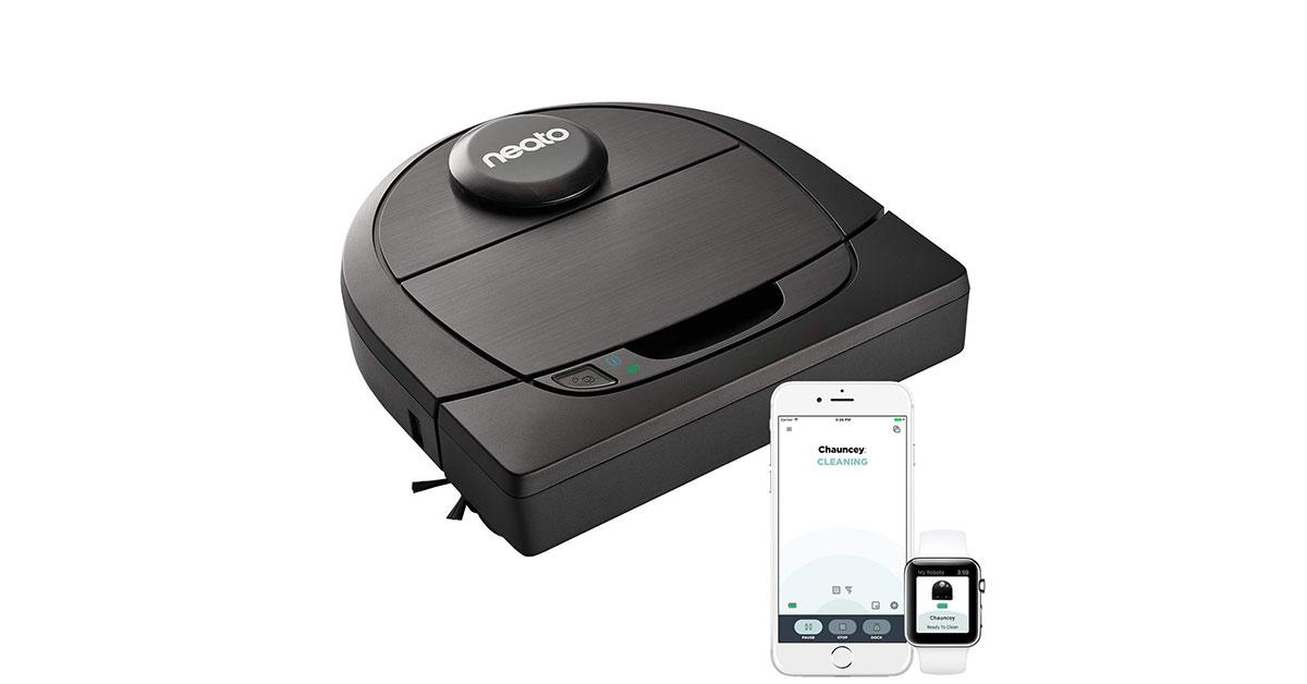 Neato Robotics D602 Connected – Compatibile con Alexa – Robot aspirapolvere con stazione di ricarica, Wi-Fi & App
